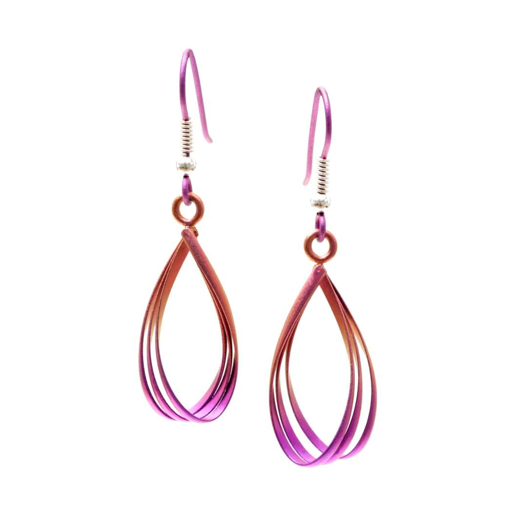Pink water drop titanium earrings.