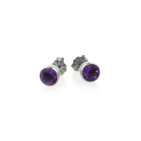 Titanium stud earrings featuring beautiful gemstones