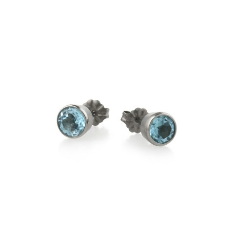 Titanium stud earrings featuring beautiful gemstones