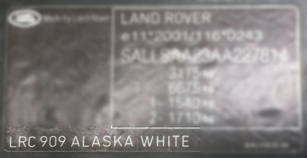 Land Rover Paint Code Location