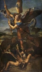 """لوحة """"ميكائيل يهزم الشيطان"""" لرافائيل (1505)"""