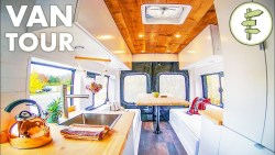 DIY Camper Van with Indoor Shower & 100% Solar (no propane) – Van Life Tour