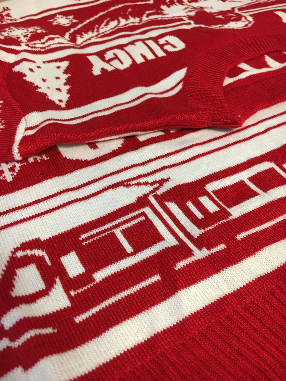 Cincy Shirts Christmas sweater, featuring the streetcar