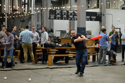 Wiffle ball tournament in the taproom