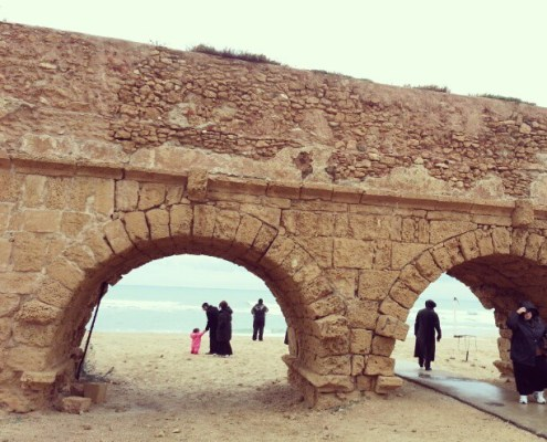 Caesarea Israel in the rain