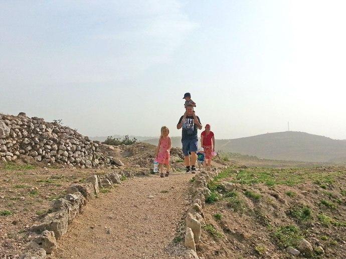Hiking at Tel Shiloh Israel
