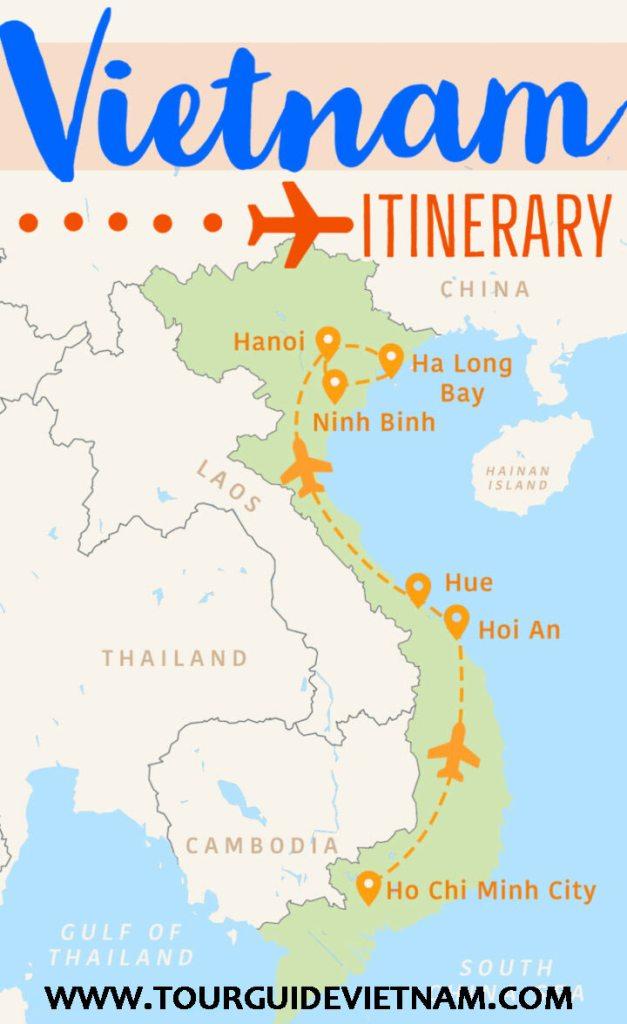 Vietnam travel map itinerary 627x1024 The Perfect 2 Week Vietnam Itinerary