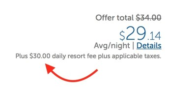 Example of How a Resort Fee Can Double The Rate of The Hotel