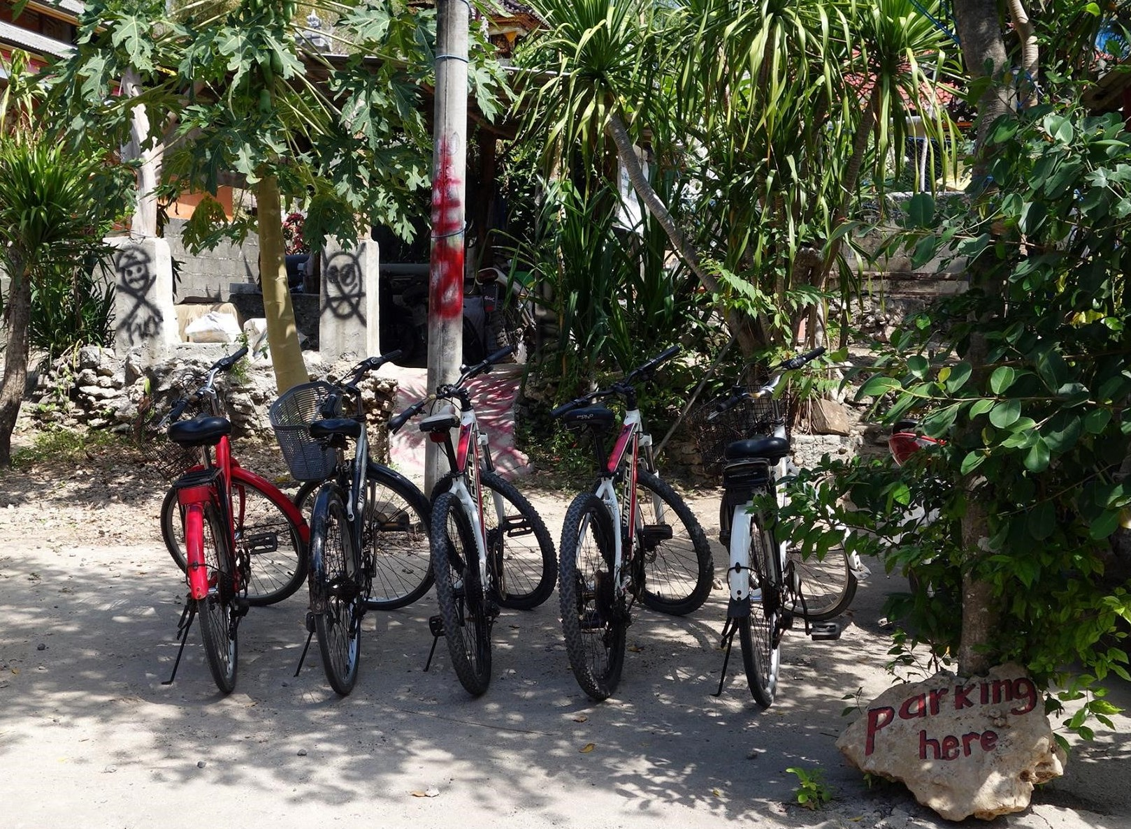 Our bicycle parking lot at the local warung at Nusa Ceningan.