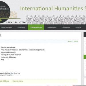 """اختيار تدريسي في كلية العلوم السياحية - جامعة كربلاء عضواً في هيئة تحرير مجلة امريكية """"International humanities Studies"""" الدراسات الانسانية الدولية"""