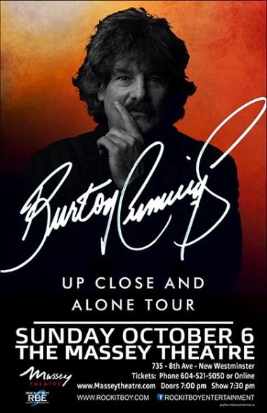 Burton Cummings Up Close and Alone Tour Poster