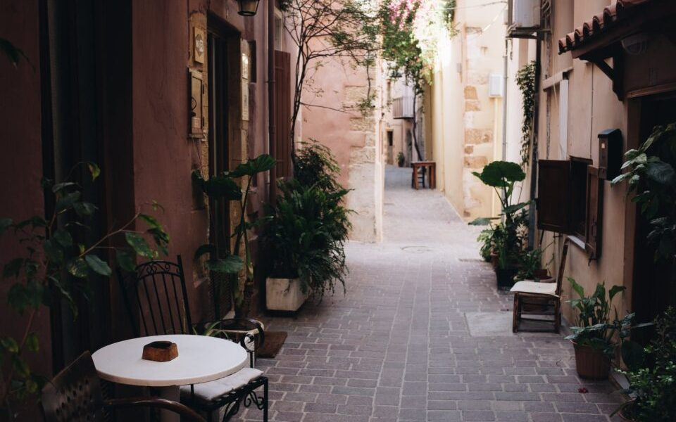 narrow pathway near houses
