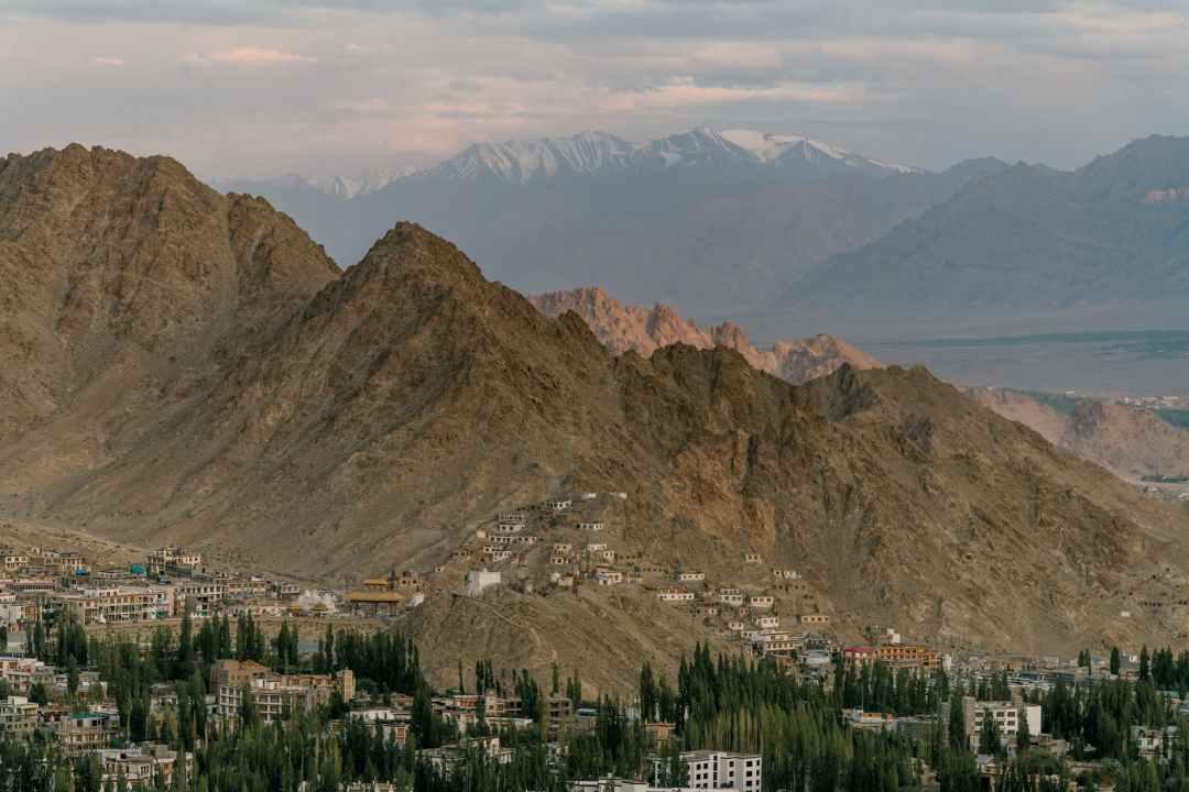 small settlement near mountainous terrain