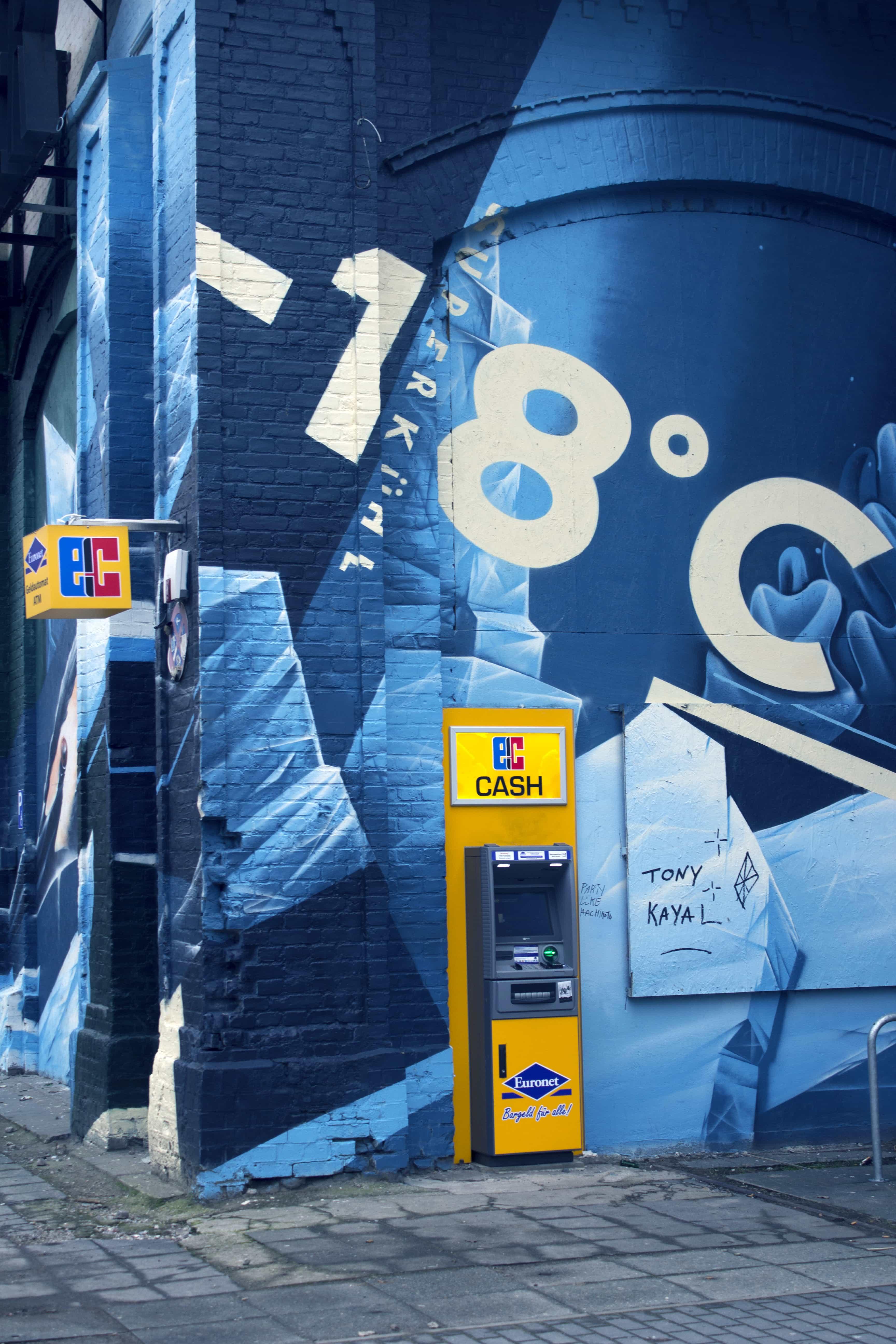 Pinautomaat, wall art, blue, blue-yellow