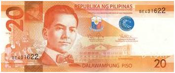 20 Philippine Peso Bill Font