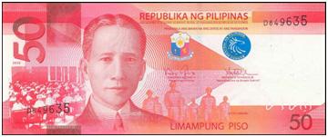 50 Philippine Peso Bill Font