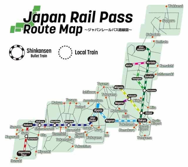 peta menggunakan jr pass di jepang
