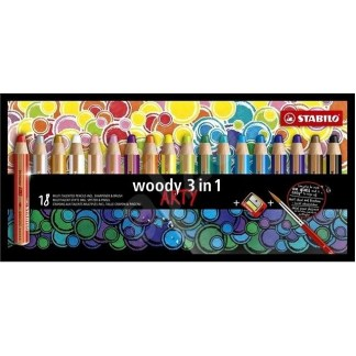 Stabilo Woody - 18 couleurs + taille-crayon et pinceau