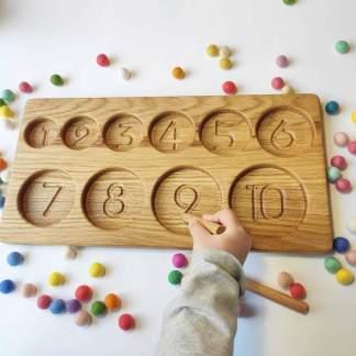 Bac de tri avec les numéros 1-10 (rond)