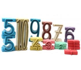 Blocs de chiffres pour compter - 34 pièces - couleur