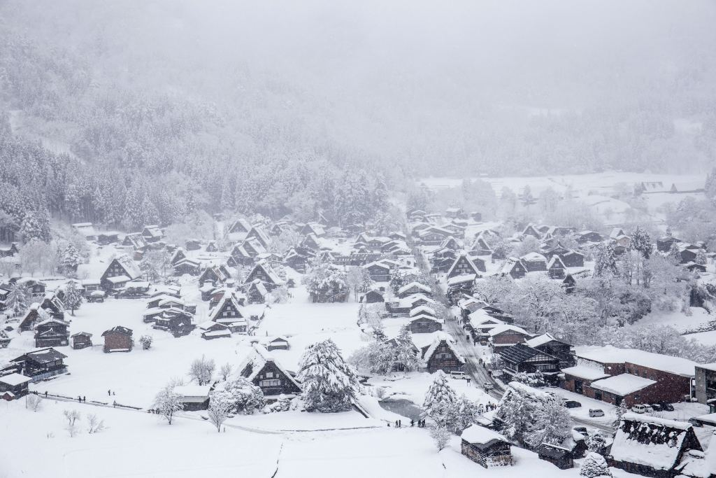 Shirakawa-go in winter under the snow