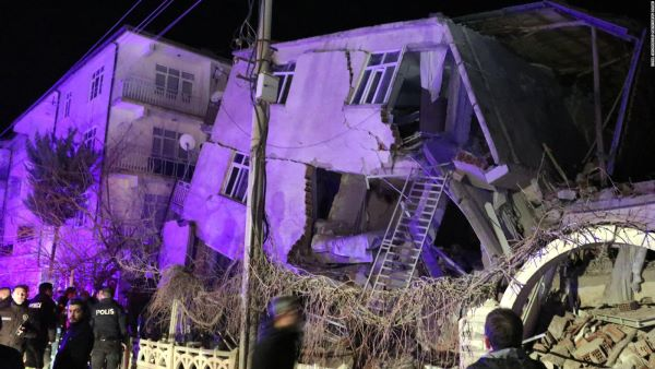 A Damaged Building After the 30th of October 2020 Earthquake in Turkey