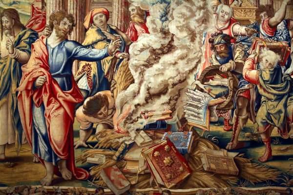 Woven Tapestry Picturing Book Burning in Ephesus, Pieter Coecke van Aelst, c. 1529