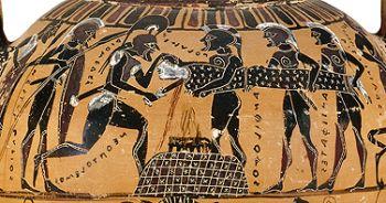 A human sacrifice ritual painted on an ancient vase