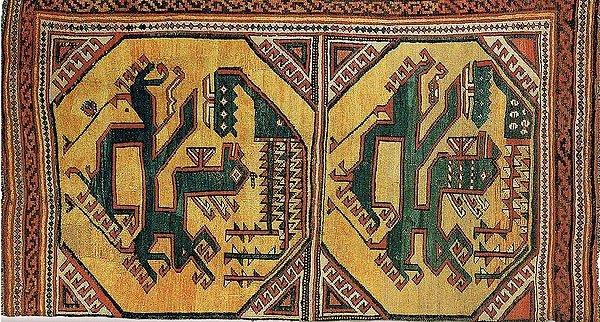 Phoenix and Dragon Woven on a Turkish Anatolian Carpet