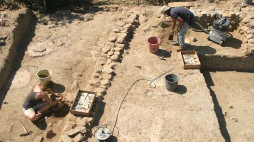 Archeologist Working at Çukuriçi Mound