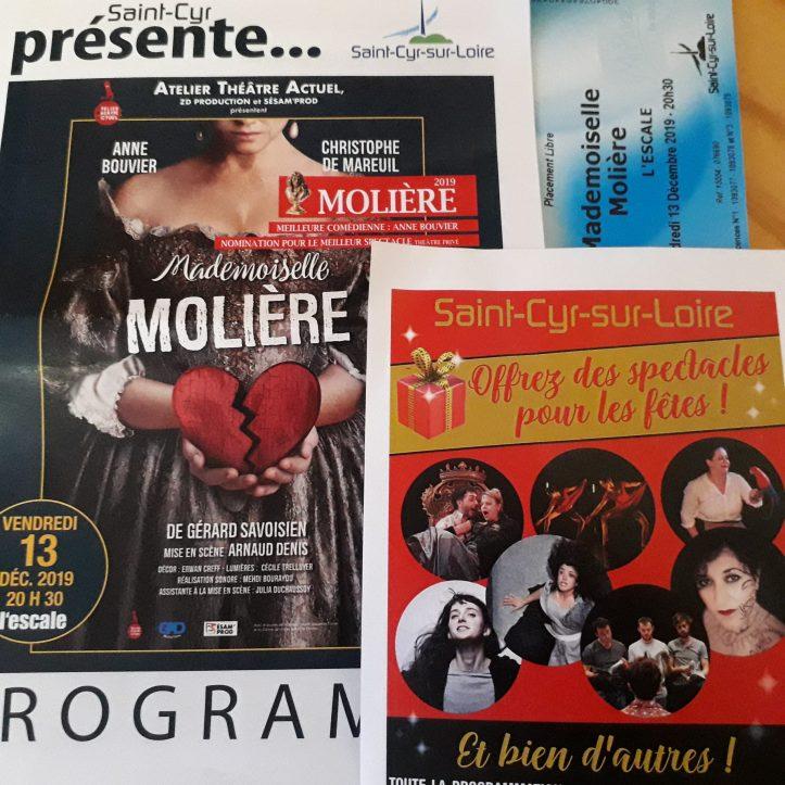à l'Escale de Saint-Cyr sur Loire avec cette représentation de Mademoiselle Molière, de Gérard Savoisien, avec Anne Bouvier  Christophe de Mareuil dans une mise en scène d'Arnaud Denis.