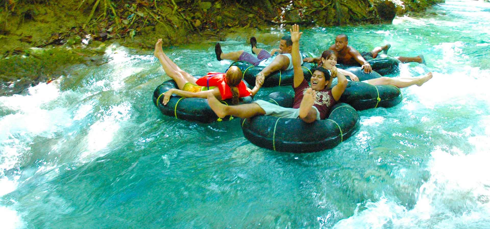 tourist enjoying their river tubing adventure in Ocho Rios