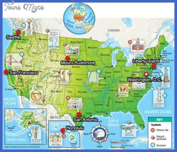 USA Pictorial Map Maps Update Tourist Attractions Map In - Us map of attractions