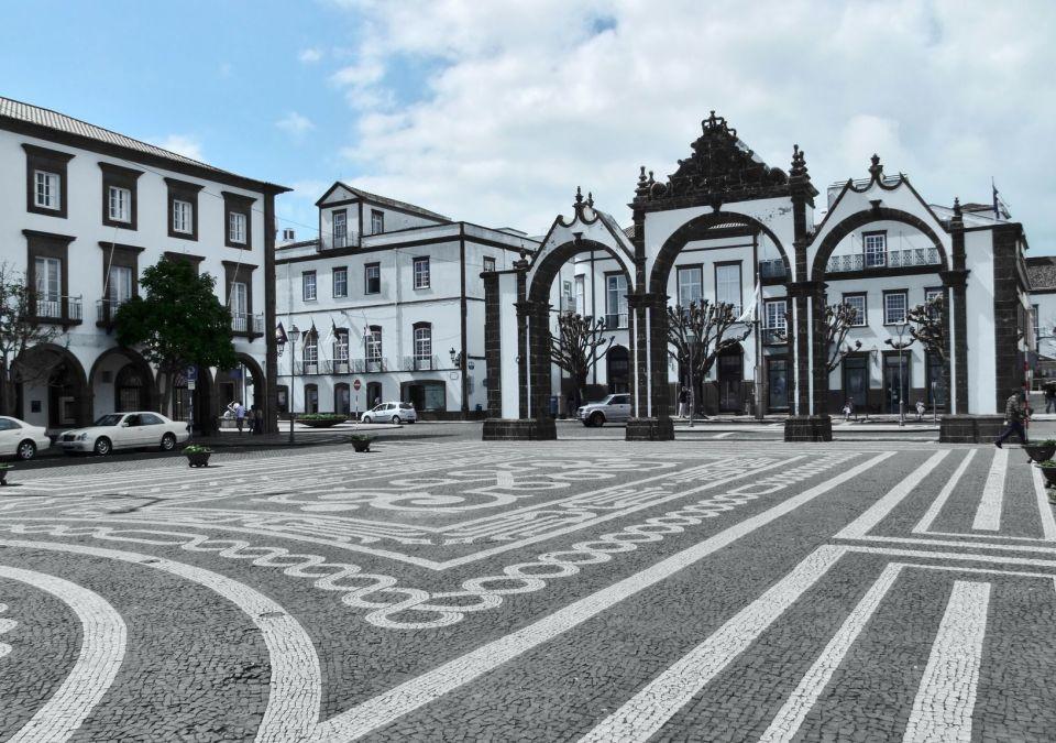 ponta delgada cruise ship entrance gates of the city shopping area