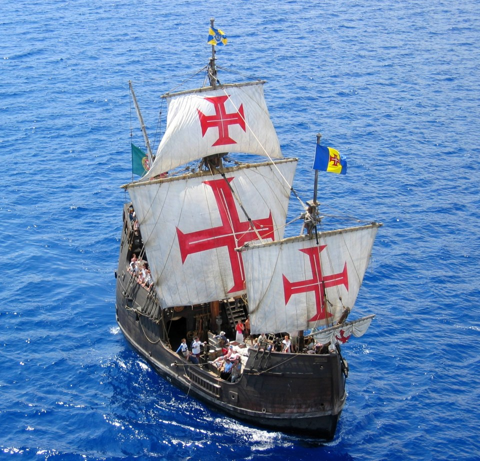 portuguese navigator boat carvel in atlantic from azores to madeira discovery