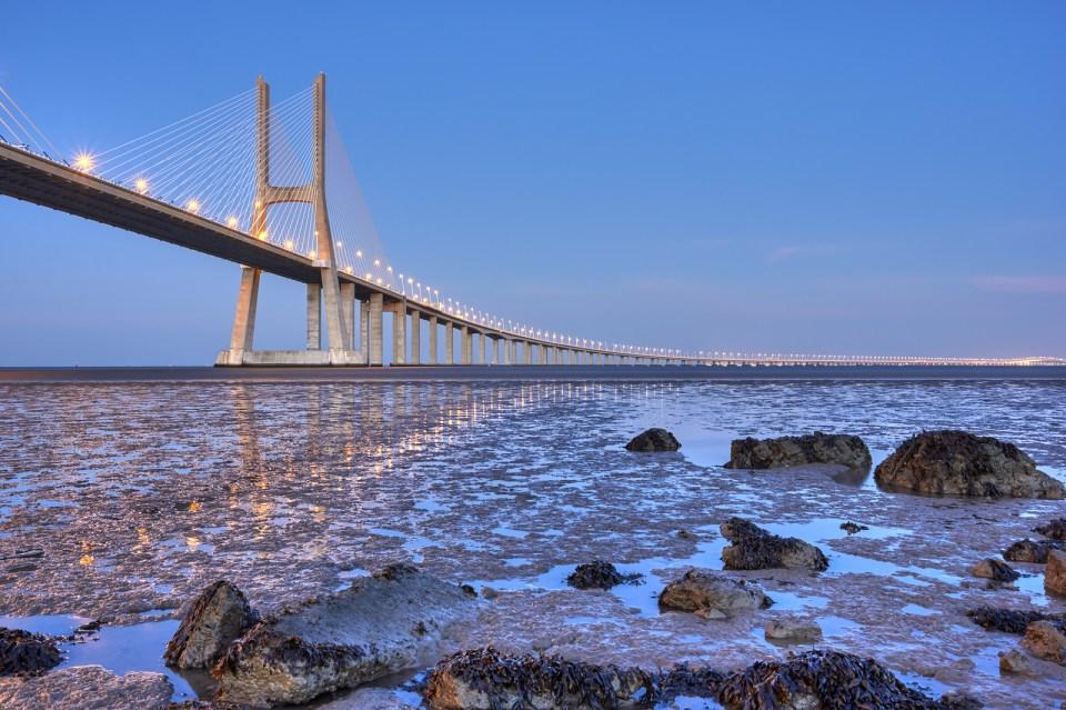 Vasco da Gama bridge at sunset, Lisbon, Portugal