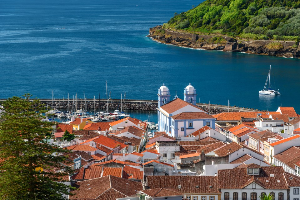 Azores Marina with fishing boat in the Atlantic on Terceira Island
