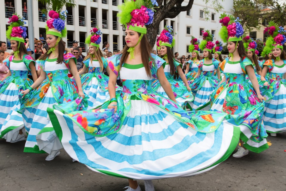 FUNCHAL MADEIRA - APRIL 20 2015: Young girls dancing in the Made