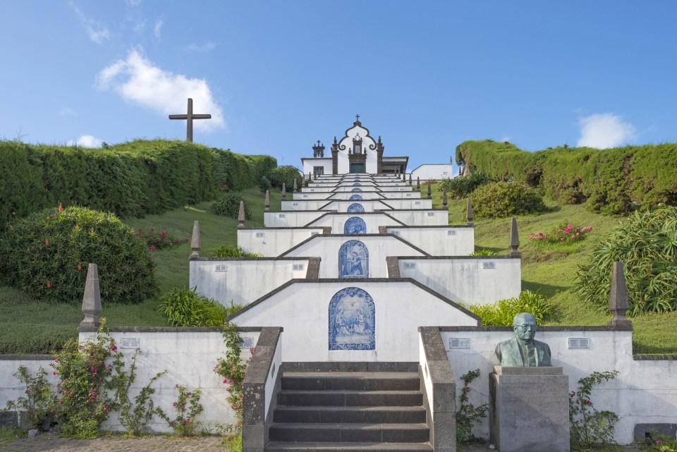 villa franca tourist spot next to azores seafood restaurant beautiful church