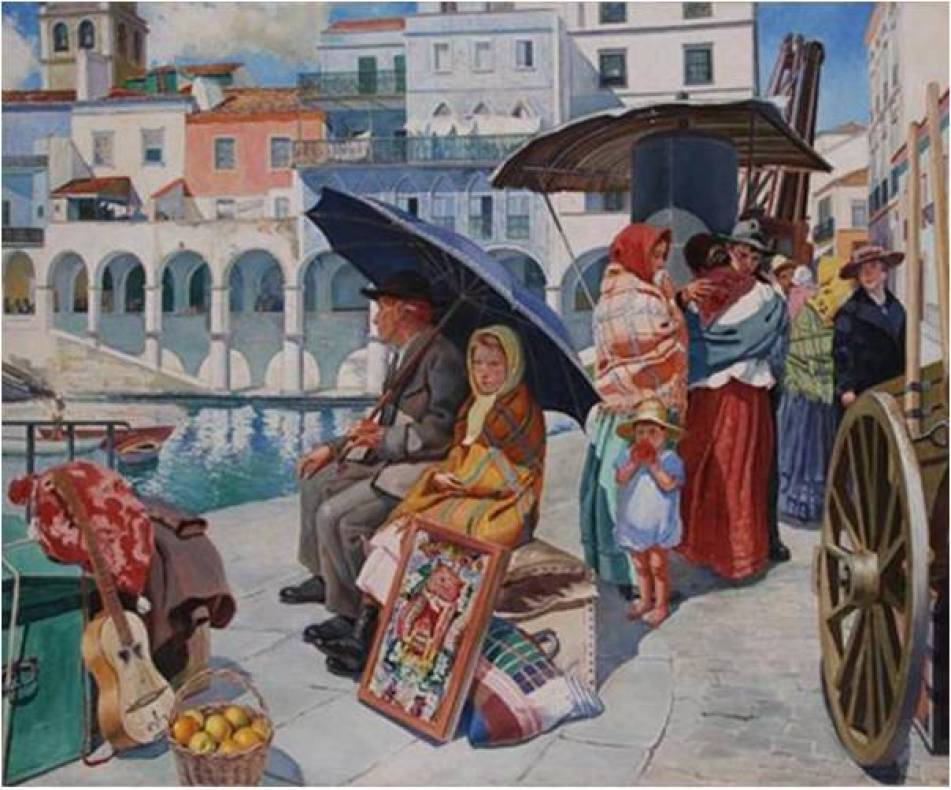 Famous Azores People in Artist Painting Emigrants leaving Sao Miguel
