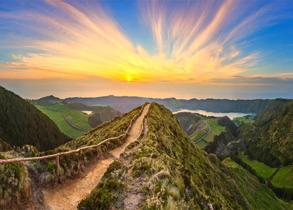 Mountain landscape with hiking trail, Sao Miguel Island, Azores, Sete Cidades