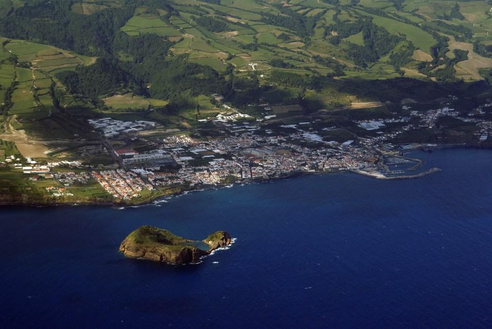 sao miguel island and vila franca island from air green islands
