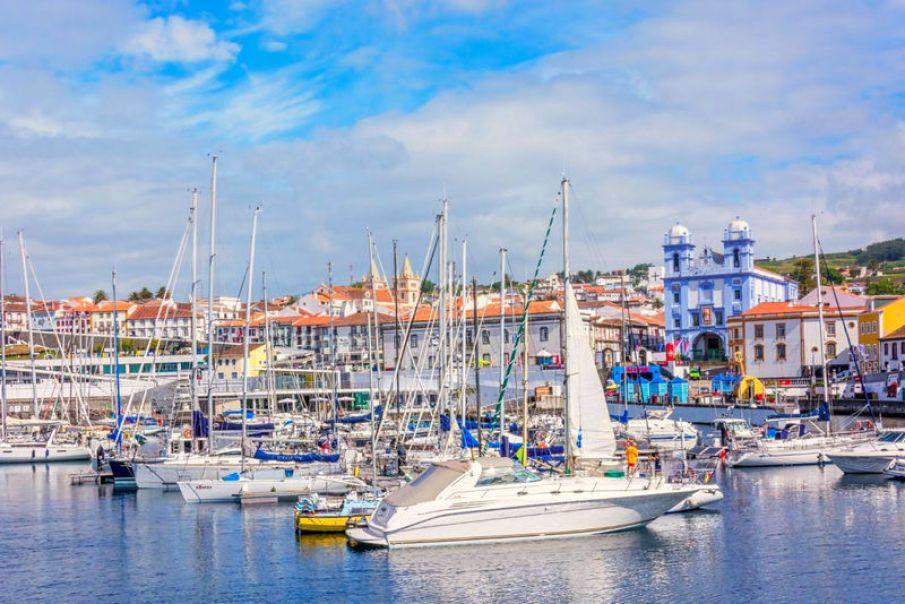 Angra City on Terceira Island Marina with Yachts and Boats