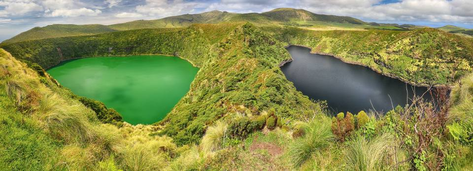crater green and black lakes on flores island in the Azores