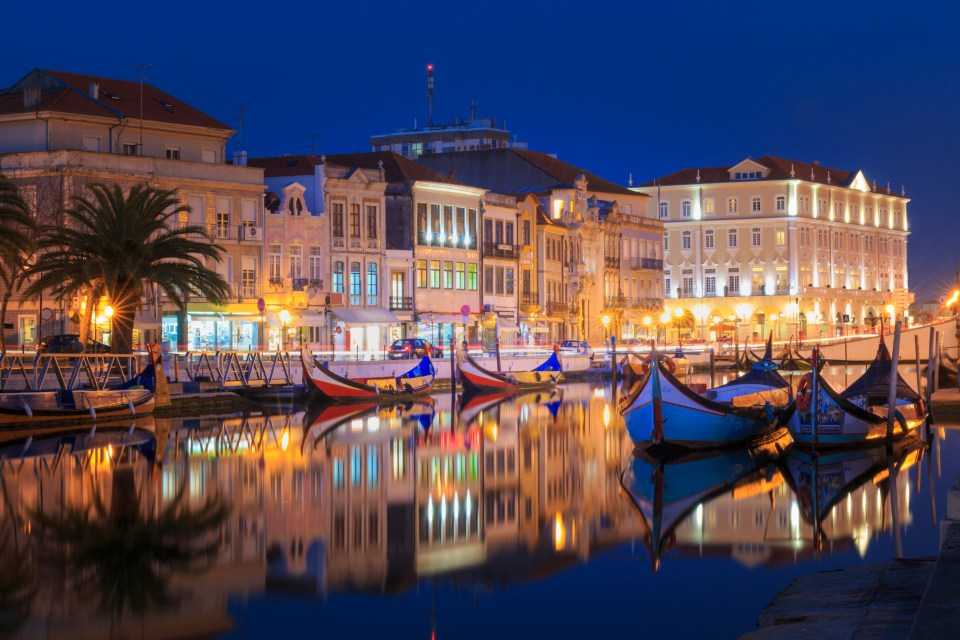 City of Aveiro in the north of Portugal by night boat tours