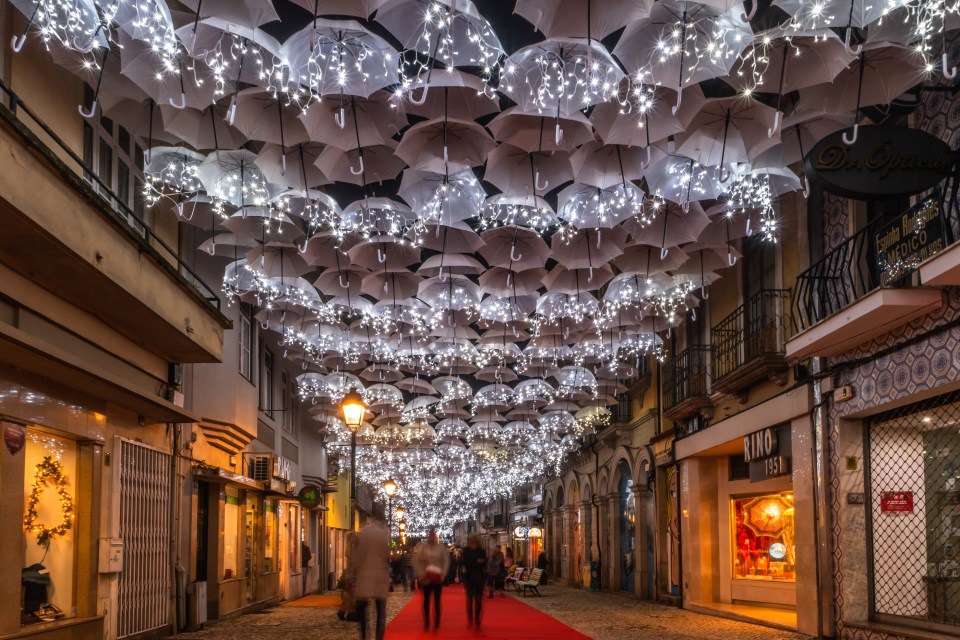 Agueda, Portugal - Circa December 2018: The Beauty Of White Umbr