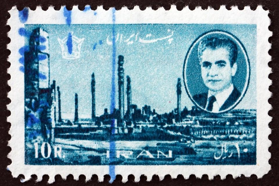 stamp iran shah 1966