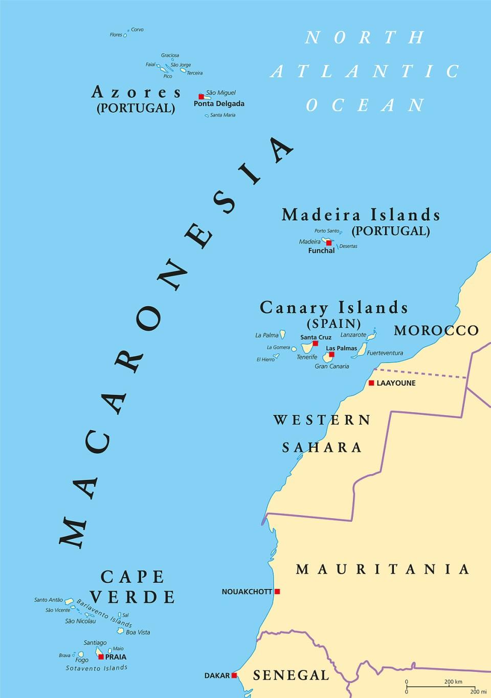 Macaronesia islands azores sao miguel portugal map