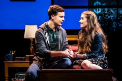 Stephen Christopher Anthony as Evan Hansen and Stephanie La Rochelle as Zoe Murphy in the North American touring company of DEAR EVAN HANSEN. Photo by Matthew Murphy 2019