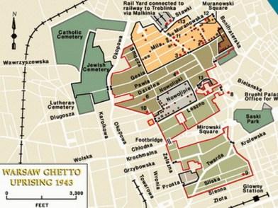 map of the Warsaw ghetto (ca 3 sq.km)